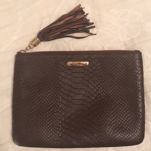 GiGi New York All-in-One Bag Brown Embossed Python